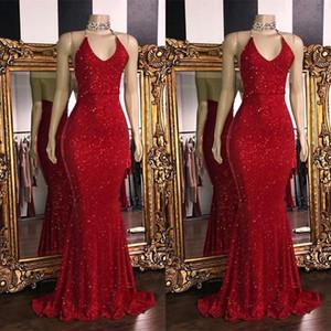 Sexy rouge mousseux Paillettes col en V sirène longue robes de bal Halter Backless balayage train parti formel robes de soirée BC1085