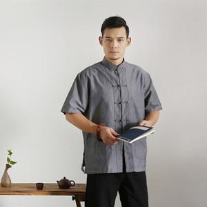 Hombres camiseta de verano de algodón de manga corta blusa de sólido Tang Top Male Tai Chi estilo uniforme ropa china de gran tamaño 3XL 4XL