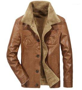 Einreiher Mens PU-Mäntel beiläufige Männer Kleidung Solid Color Herren-Leder-Jacken Mode-Revers-Neck