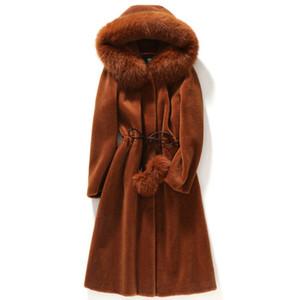 Uzun kürk kadın kış ceketler tilki kürk hoodies rüzgarlıklar ceket sıcak palto kabanlar moda tops siyah ordu yeşil mavi