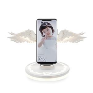 10W Беспроводное зарядное устройство Angel Wings Night Light Мобильный телефон Беспроводное зарядное устройство для Android Apple USB Fast Charge с Night Light