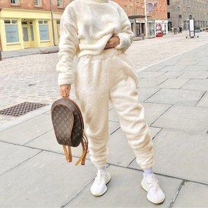Roupas Femininas Estilo Rua Outono Inverno Mulher designer Pants Moda Thick Fluffy quentes calças compridas New Arrival