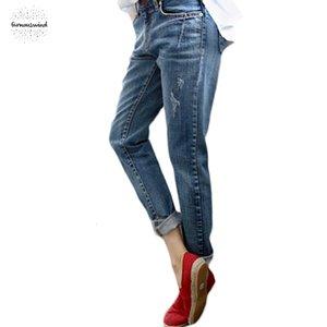 Boyfriend джинсы для женщин Горячих продаж Zipper Fly Vintage Омываются Проблемным Regular Spandex рваных джинсов джинсовых брюк женщина джинсы C1028