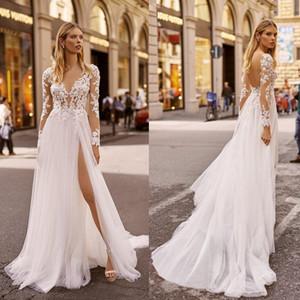 2020 Берта Пляж Свадебные платья V шеи с длинными рукавами поясничная кружева свадебное платье Backless Высокая Сплит Сборки Sweep Поезд Свадебные платья