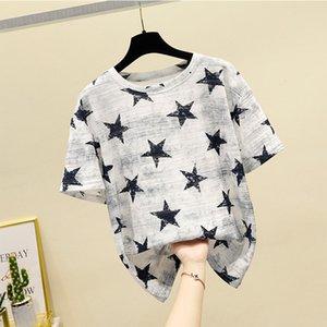 GGRIGHT 2020 Pentagram lâche Imprimer T-shirt Femme d'été en coton tricoté T-shirts manches courtes femmes O-Neck Top Femme Harajuku