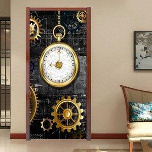 PVC Door Sticker 3D Stereo Golden Gear Clock Mural Wallpaper Retro Kitchen Restaurant Door Poster Self-Adhesive Waterproof Decal Other Beddi