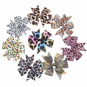 16style Rib Ribbon Colorful Leopard Print Swallow Tail Hair Bows Baby Girl Hairpin Hair Ornament Accessories Hair circleT2C5174