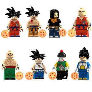 Educativa de Dragon Ball Z Super Saiyan Goku Vegeta Krilin Chiaotzu Tien Shinhan Bardock Mini Toy figura Bloque de construcción