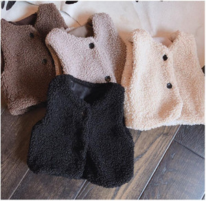 Winter Warm Waistcoats Vests Girls Kids Sweater Korean Kitting Lambs Wool Thick Waistcoat Vest Sets for Baby Boys Wholesale