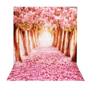 1.5m*1m Sakura Flower Road Photography Backdrop Cloth Wedding Background DIY