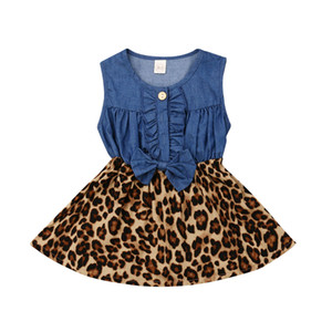 Retro Kids Girls Dresses Cute Baby Girl Leopard Denim Patchwork Princess Dress Summer Sleeveless Bow Party Dress Sundress 6M-5T