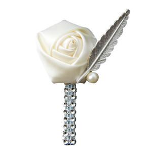 2019 Nuovi 20 colori Fiore spilla da uomo Wedding Boutonniere fatto a mano Spilla da sposa Boutonniere all'occhiello Sposi Boutonnieres nique Design