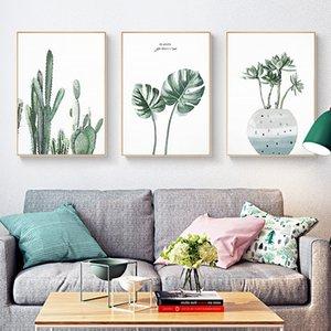 Cactus Banana Leaf Flower Green Plant Nordic Bedroom Canvas Paintings Vintage Kraft Posters Coated Wall Stickers Decoración para el hogar Regalo