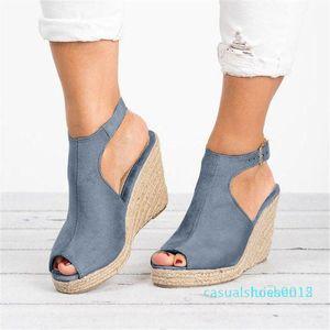 Women's Sandals Ladies Fashion Solid Wedges Casual Buckle Strap Roman Shoes Sandals comfortable Women Shoes High quality cc2 l15