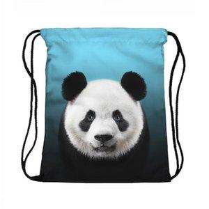 3D Sevimli Panda Baskı Baskı İpli Sırt Çantası Seyahat Sırt Çantası Çantası Çanta
