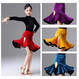 Uzun çocuklar kızlar yarışma balo çocuklar tango salsa dancewear uygulama aşınma çaça için latin dans elbise kollu