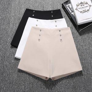GUMPRUN Mujeres Pantalones cortos 2019 del motorista botón de la moda de verano de cintura alta pierna ancha ocasional del trayecto cortos Negro salvaje blanca