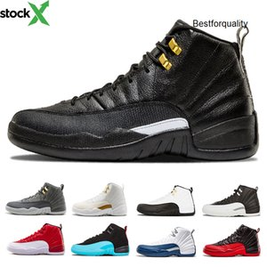 Drop shipping 12 mens jordon basketball shoes white black Gym Red Flu Game French Gamma blue Taxi Playoffs the Master wolf grey sports