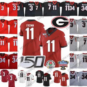 UGA Geórgia Bulldogs Jerseys 150 # 11 Jake Fromm 7 Branco dandre Swift 3 Todd Gurley II 34 Herchel Walker Black Red Sugar Bowl