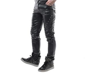 Stage Personalidade Rivet Men Pants Casual Couro Pant Homens Pés Calças Cantor Dance Rock Moda Pantalon Homme Punk Hetero