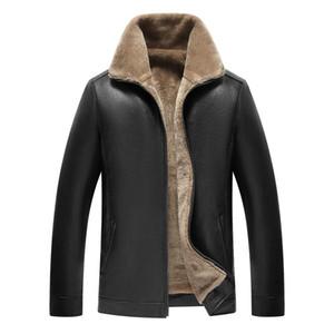 ceketin bir standı yaka kış ceket shearling taklit kürk olan erkeklerin sıcak motosiklet pu ceket için Kalın polar deri ceket