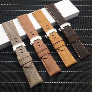 24mm 미친 말 진짜 가죽 브라운 손목 시계 시계 밴드 나비 버클 파네 라이 스트랩 PAM111 / 441 벨트 무료 도구