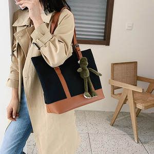 Simple Fashion Canvas Bag Korean-style Shoulder WOMEN'S Bag Big New Style Shoulder Bag  Hand Large Capacity Lady