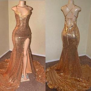 Paillettes oro Mermaid Prom Dresses 2019 New Sexy Criss Cross Backless senza spalline Anteriore Split Lungo abiti da sera abiti riflettenti