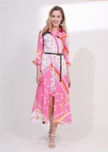 Мода весна и лето 2009 новых европейских и американских женщин V-образным вырезом Рог рукав пояса средней длины нерегулярные античные печатных платья