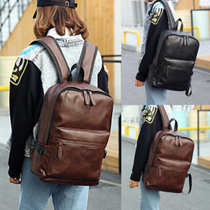 2019 Marca New Unissex Mochila PU Leather Shoulder Bolsa Escola Computer Tote Bolsa Mochila Viagem Computer Bag