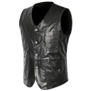 Mens Leather Vest Male Genuine Sheepskin Spring Summer Slim Fit Motorcycle Vests Casual Black Leather Sleeveless Jackets Waistcoat