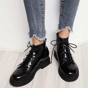 Горячая кожа прод-Rimocy Патентных Ботильоны для женщин толстого дна Lace Up непромокаемой обувь женщина черного коренастых платформы Zapatos De Mujer