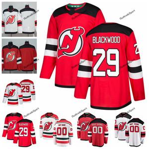 2019 매켄지 블랙 우드 뉴저지 데빌스 하키 유니폼 맞춤 이름 대체 화이트 레드 # 29 맥켄지 블랙 우드 스티치 하키 셔츠