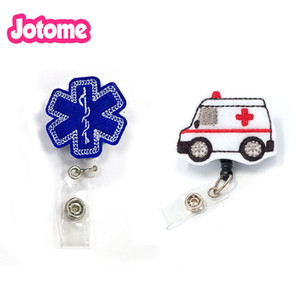 20pcs / lot poco costoso handmake feltro maglia infermiera retrattile id porta badge reel Emt Emergency Medical Technician Ambulanza
