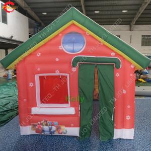 Новый дизайн большой открытый рождественские украшения надувной рождественский дом надувной санта клаус палатка надувной санта грот