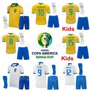 Youth NEYMAR JR Jersey Socks Brazil 2019 Copa America Soccer Kids FIRMINO COUTINHO SILVA DANI ALVES NERES Brasil Football Shirt Kits Uniform