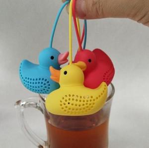Duck чай фильтр Сито Силиконовые Cute Duck Специально разработанный стиль формы фильтр Вкладыш Coffe чайное ситечко 100шт T1I2049