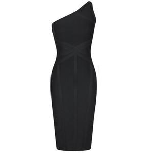 Ocstrade Bandaj Elbise 2020 Moda Bir Omuz Bandaj Seksi Siyah Çizgili Elbise BODYCON Ünlü Akşam Kulübü Partisi