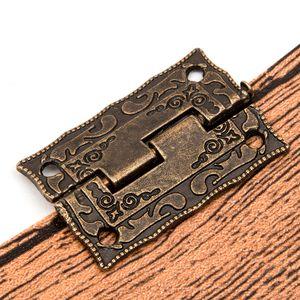 مصغرة مجلس الوزراء مجلس الوزراء بات صندوق تخزين مفصلات برونزية الديكور 10PCS / مجموعة درج على مفصلات الأبواب الخشبية البسيطة خمر Nixgx