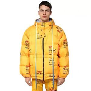 Alta calidad! Invierno 2020 nueva chaqueta de los hombres abajo pan de moda caliente suelta a prueba de viento con capucha amarillo tamaño S ~ 2XL