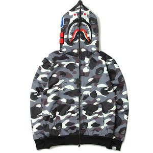 YENI Shark Hoodies Hip Hop Erkek Kafa Sonbahar ve Kış Yeni erkek Gelgit Marka erkek Kamuflaj Kişilik Kapşonlu Kazak Ceket