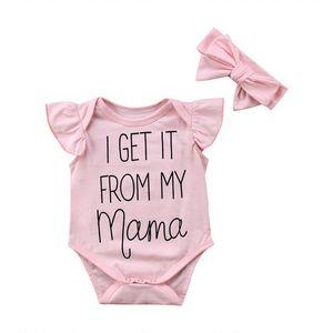 Los bebés del mameluco del mono de volantes de encaje madre carta mamelucos + rosa bowknot headwear con banda de trajes de verano de los niños de una pieza E3302 venta de ropa