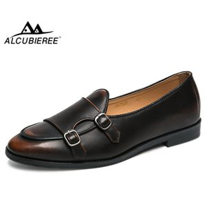 ALCUBIEREE Elegant Men Double Monk Strap Shoes Men British Loafers Mens Slip-on Formal Shoes Vintage Official Oxford for Male