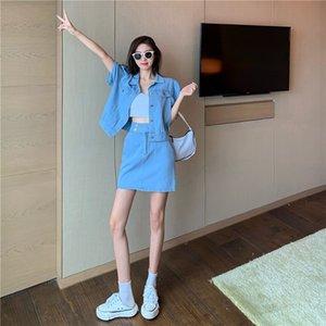 manica corta estate Hong Kong denim stile giacca cardigan skirt + vita alta pannello esterno del denim due pezzi