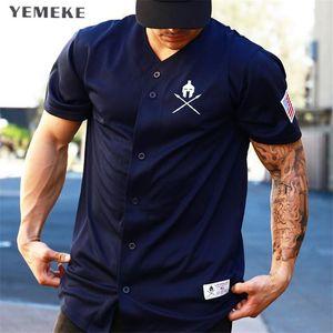 Yemeke Palestre Maglietta Crossfit Marca Abbigliamento Fitness T-Shirt Compressione Manica Corta Maglietta Bodybuilding Allenamento Tee-shirt C190420