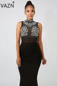 2330 우아한 맥시 트럼펫 드레스 VAZN 새로운 섹시한 나이트 클럽 스타일 여성 브랜드 인기 드레스 고체 다이아몬드 O-목 탱크 슬리브