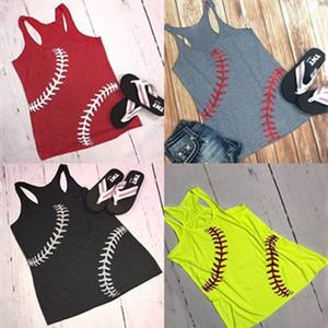 2019 Été Femmes Baseball Imprimé Tops Sports Tanks Sans Manches T-shirts Gilet Plage Camis Softball t shirts Femmes Gilet Plus taille C6766