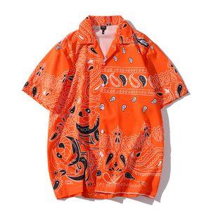 Barroco de manga corta impresa Camisas verano de los hombres Streetwear la playa de Hawaii hombres de la manera tapas flojas