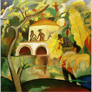 Abstract art Rokoko August Macke Oil painting canvas artwork for living room decor hand painted