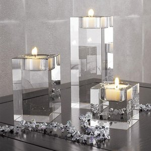 Nordic Crystal Candle Holder Holiday Wedding Centerpieces Ornaments Glass Candles Home Decor Geometric Centerpiece Wax Burner SH190924